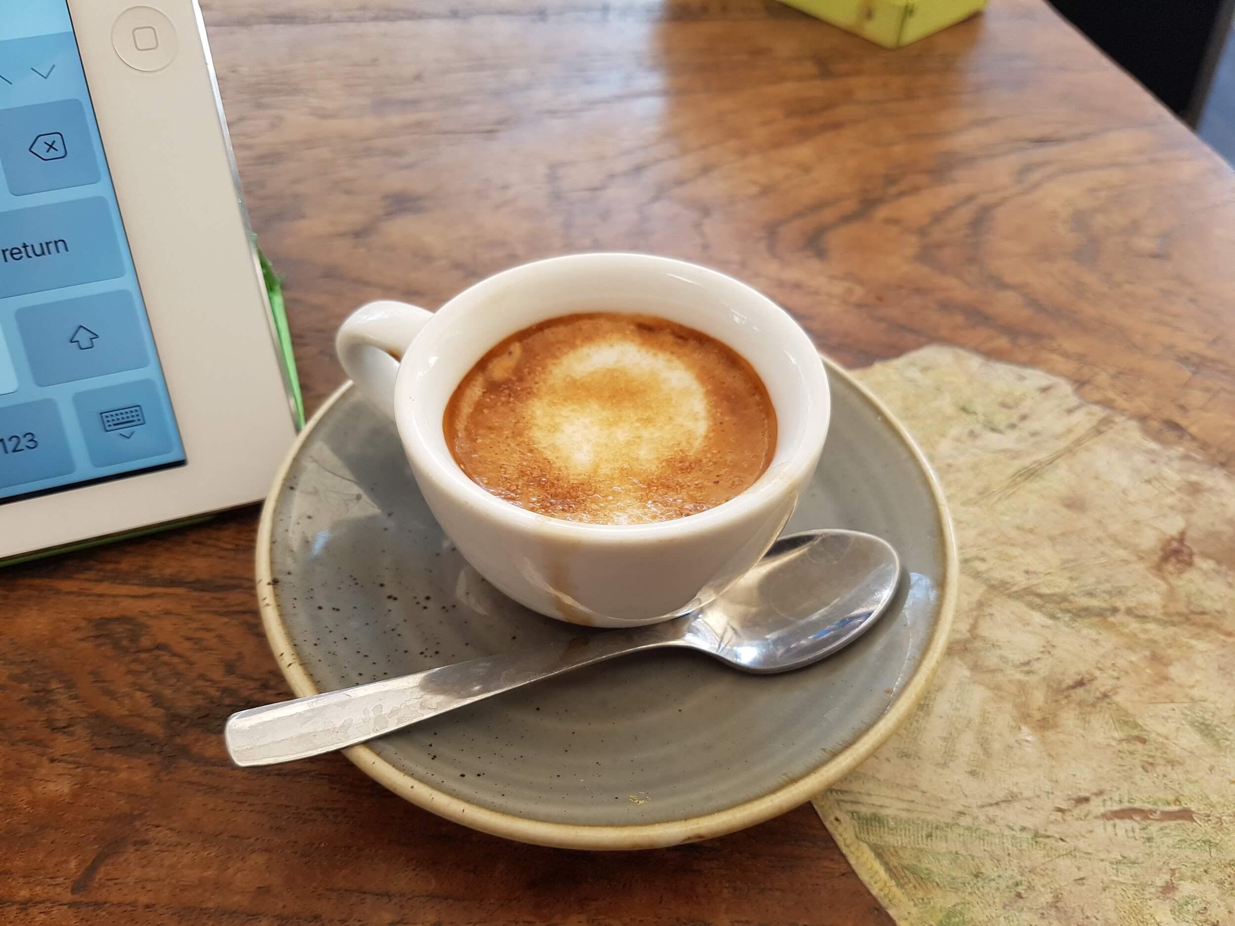 Espresso coffee on a table