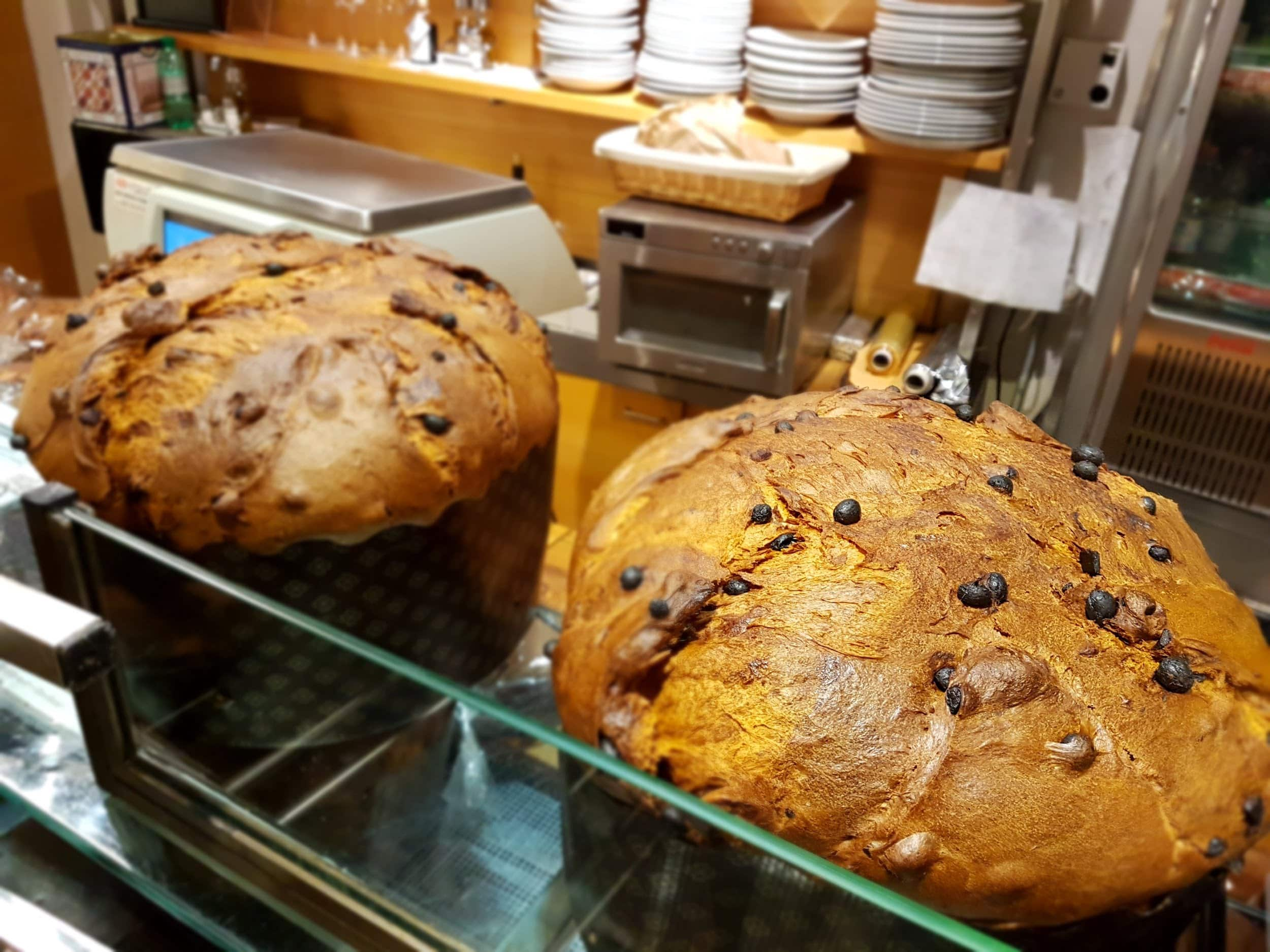 2 panettone cake on display
