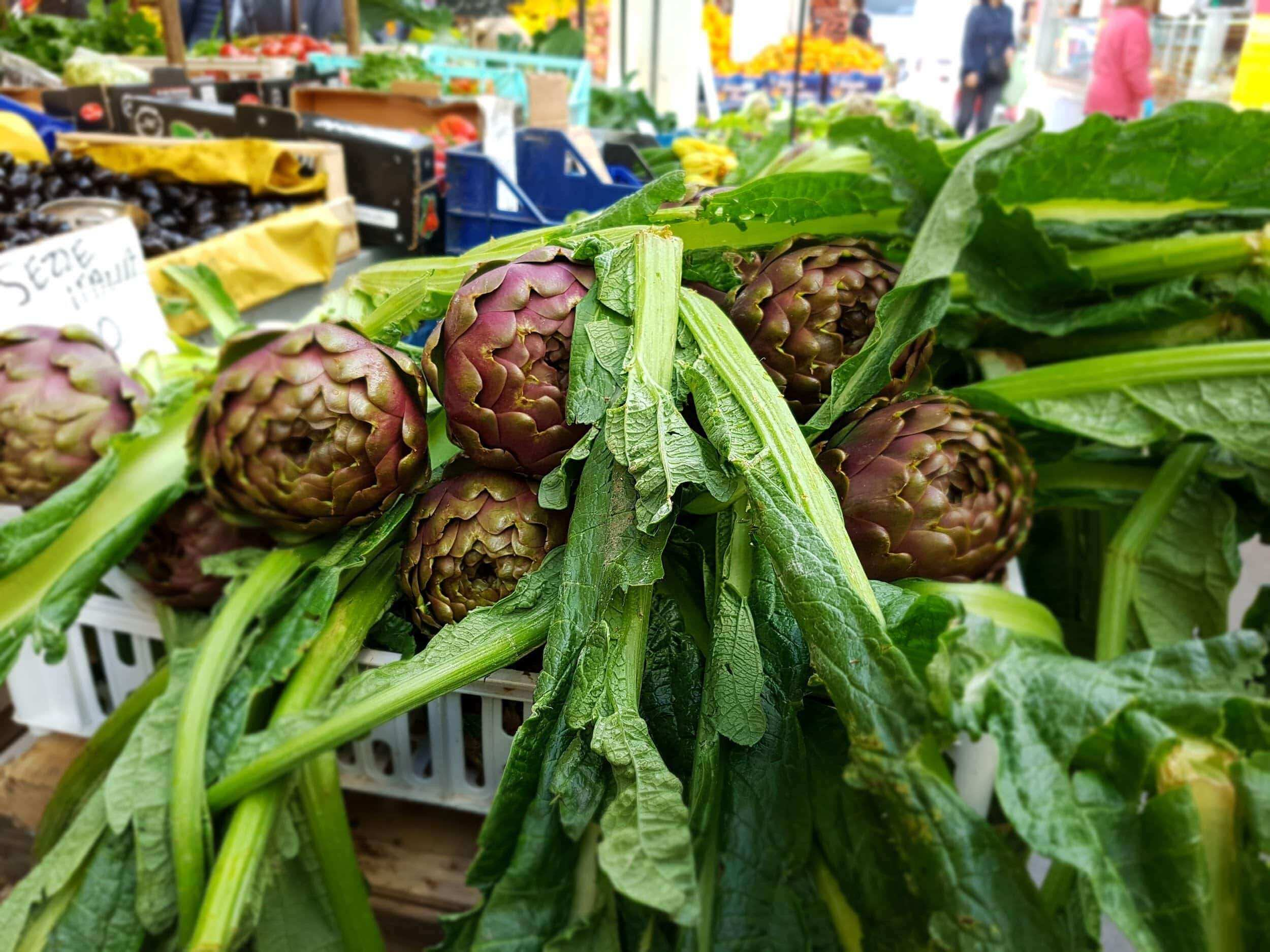 artichokes on sale at the market