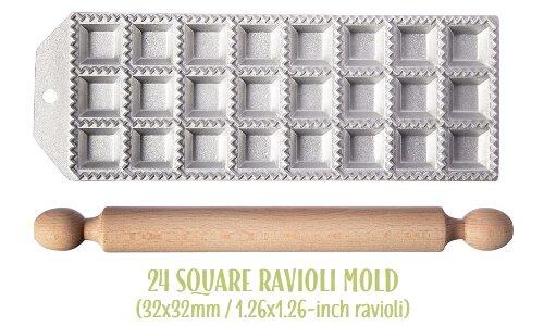 24 square ravioli mold